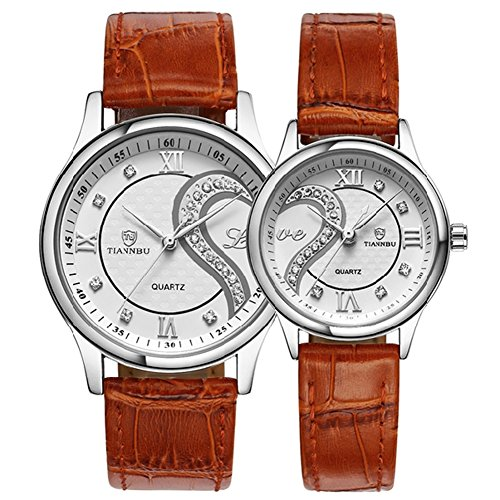Fq-102 Ultrathin Leather Romantic Crystals Pair Fashionable Wrist Watches for Couples Man Woman Set of 2 (Brown & Silvery)