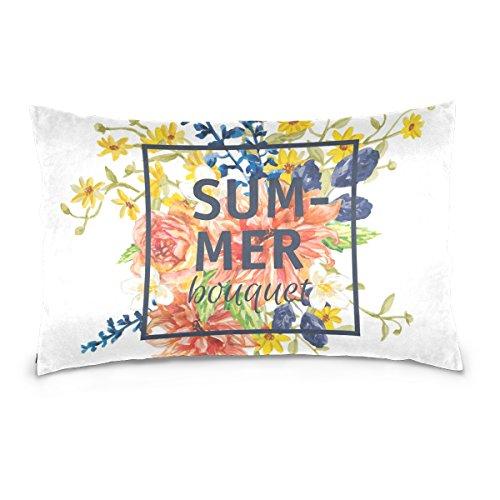 Bouquet Top Pillow (Top Carpenter Bouquet Of Flowers Velvet Oblong Lumbar Plush Throw Pillow Cover/Shams Cushion Case - 20x26in - Decorative Invisible Zipper Design for Couch Sofa Pillowcase Only)