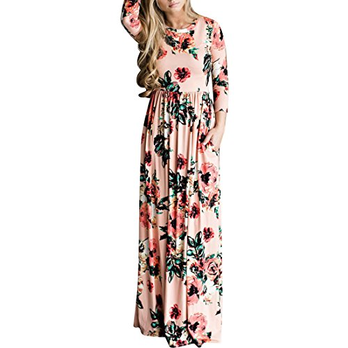 New Destinas Women's Long Sleeve Flower Print Party Cocktail Formal Maxi Dress free shipping