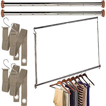 lynk double hang closet rod organizer clothing hanging bar chrome wood home. Black Bedroom Furniture Sets. Home Design Ideas