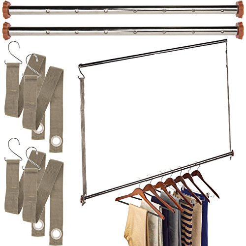 neatfreak Michael Graves (3 Pack) Extendable Closet Hanging Bars Doubler Rods Clothes Organizer (Double Closet Hang)