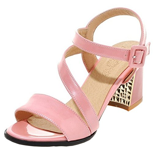 TAOFFEN Women Fashion Slingback Buckle Strap Outdoor Block Mid Heel Summer Sandals Pink DiOp1vdx