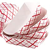 Grease-Proof Sturdy Food Trays 1 lb Capacity 100 Pack by Eucatus. Serve Hot or Cold Snacks in These Classic Carnival Style Checkered Paper Baskets. Perfect for Concession Stand or Circus Party Fare!