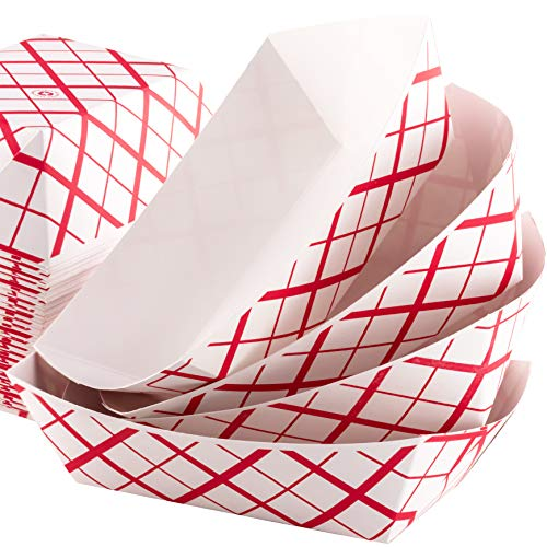 Grease-Proof Sturdy Food Trays 3 lb Capacity 100 Pack by Eucatus. Serve Hot or Cold Snacks in These Classic Carnival Style Checkered Paper Baskets. Perfect for Concession Stand or Circus Party Fare! ()