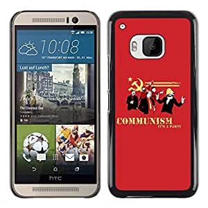 KOKO CASE / HTC One M9 / comunismo cita divertida roja símbolo del partido / Delgado Negro Plástico caso cubierta Shell Armor Funda Case Cover