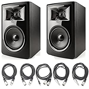 """JBL 306P MkII 6.5"""" Studio Monitoring Speakers (Pair) w/ 5 Essential AxcessAbles AudioCables for Recording Studio"""