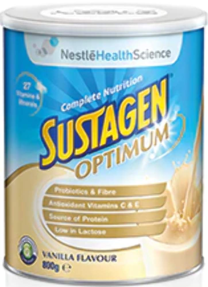 Sustagen Optimum - Nutritional Ready To Mix Daily Supplement With High Protein, Minerals, Vitamins, Probiotic, Fiber For Energy Boost, Poor Appetite & Diet - Vanilla - 800g