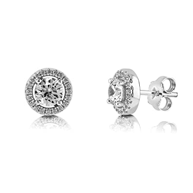 067de0172 Image Unavailable. Image not available for. Color: BERRICLE Rhodium Plated  Sterling Silver Halo Stud Earrings Set w/Swarovski Zirconia Round