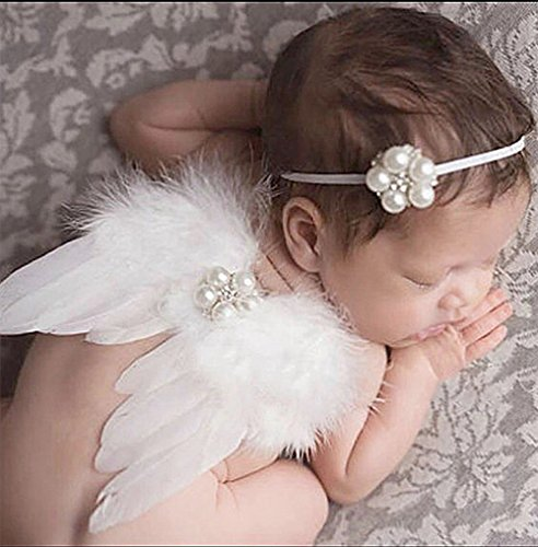 Creationtop White Feather Angel Wings for 6-18 month Baby (White wings/Pearls headband) (Cupid Baby Costume)