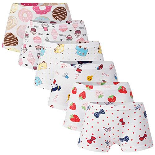 Growth Pal 6 Pack Soft 100% Cotton Girls's Panties Briefs Little Girls' Underwear Toddler Undies - Girls Soft Underwear