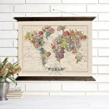 ''Bouquet'' Wood Bound Canvas, Vintage Map Art Wall Hanging