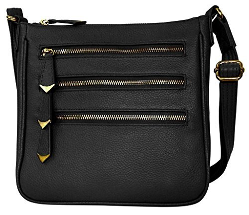 Roma Leathers Leather Locking Concealment Crossbody Purse - CCW Concealed Carry Gun Bag, Black (7017-BLK)