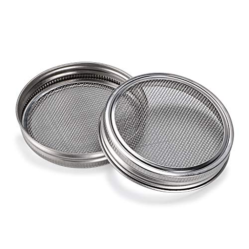 SUMNACON Sprouting Jar Lids Kits - Steel Sprouting Lids For Wide Mouth Mason Jars, 4 Pack Sprouting Jar Lid Kit For Making Broccoli/Lentil/Bean Sprouts