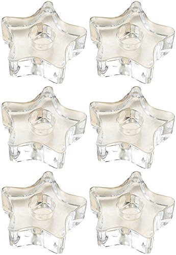 (Biedermann Glass 5-Point Star Candle Holder, Clear, Set of 12)