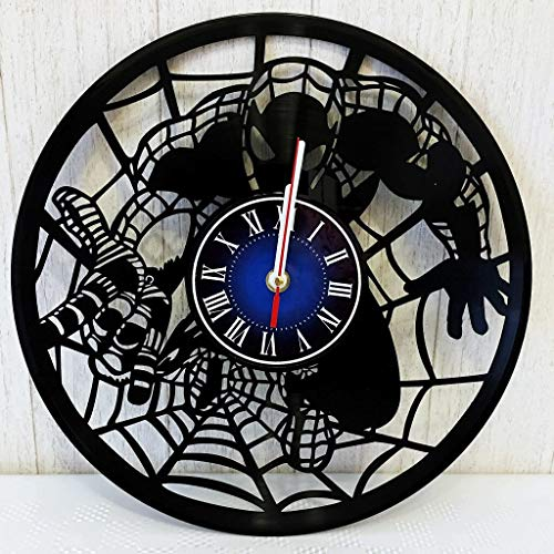 Marvel Comics Spider-Man Wall Clock Made from 12 inches / 30 cm Vintage Vinyl Record | SPIDEMAN Gift for Men Boys Husband | Marvel Infinity WAR | Spider Man Merchandise