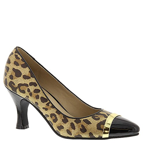 Bellini Leather Pumps (Bellini Women's Zephra Fashion Pumps, Animal Print Faux Leather, Polyurethane, 13)