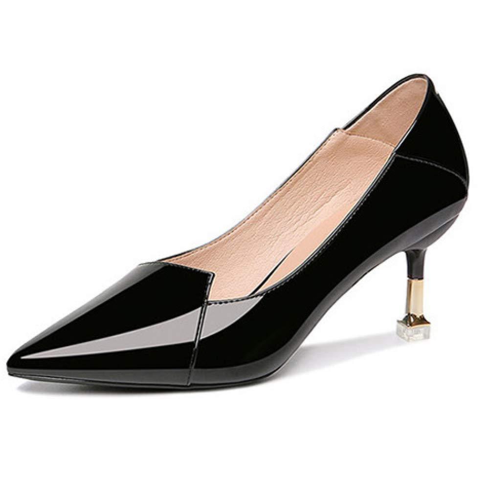 MAKAFJ Klassische Damen Lackleder Schuhe Mit Hohen Absätzen Spitz Flacher Samt High Heel Slip-On Große High Heel