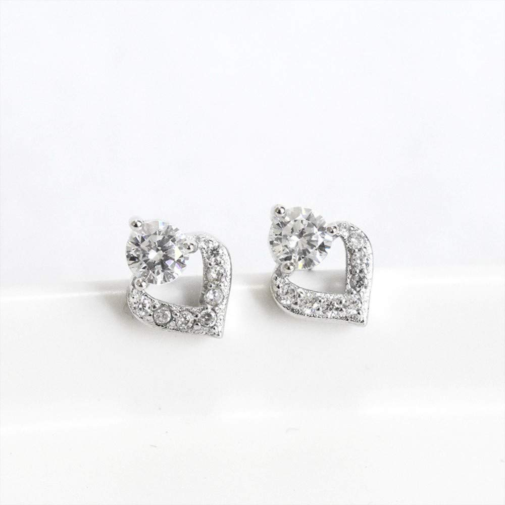 THTHT Sterling Silver Earrings Womens Simple Love Temperament Cute Exquisite Creative Fashion Vintage Jewelry Rhinestones