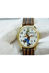 Disney Goofy Men's Watch - Gold & Brown Leather