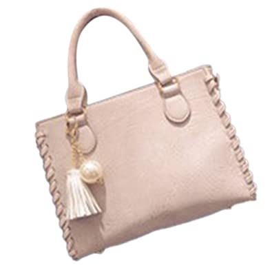 06e21453d3 Amazon.com  ThinkMax Fashion Elegant Lady Casual Handbag Solid Color PU  Weave Edge Shoulder Bag with Tassel Pearl Pendant Ladies Tote Bag Beige   Shoes
