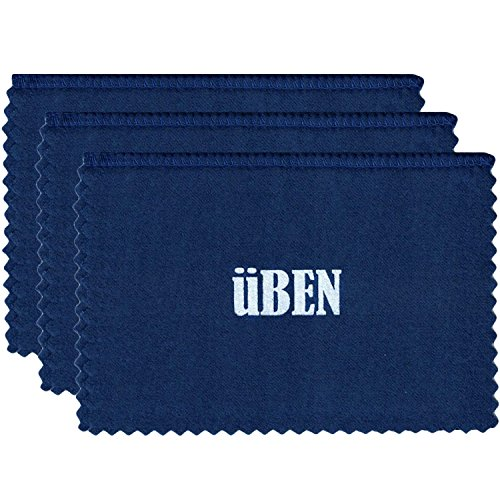 UBEN Medium Jewelry Polishing Cleaning Cloth for Gold, Silver, Platinum 6 x 8 -Set of 3 Blue/Maize Cloths