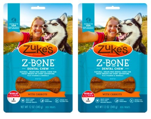 Bone Carrot (Zuke's Z-Bones Natural Grain-Free Dental Chew Regular (Pack of 2), Carrot - 16 Chew Bones Total)