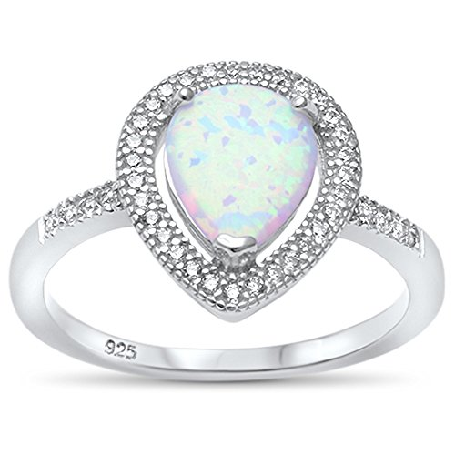 Sterling Silver Pear Lab Created Opal Tear Drop Halo Ring Sizes 5-10 (Lab Created White Opal, 9)