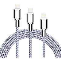 oduey iPhone charger, 3Pack 3FT 6FT 10FT Nylon Braided Cord Lightning Cable to USB Charger for iPhone X 8/8Plus 7/7 Plus/6s/6s Plus/6/6Plus/5s/5c/5, iPad/iPod Models-Silver