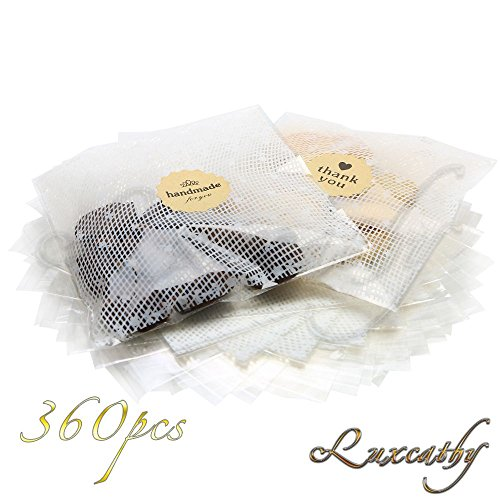 Luxcathy 360 Counts OPP Clear with Lace Pattern Gift Wraps Bag and Stickers for Party , Handmade Cookies , Candies , Cakes , Biscuits (5.5