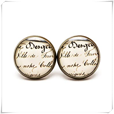 Amazon com: Vintage Calligraphy Earring Studs , Handwritten