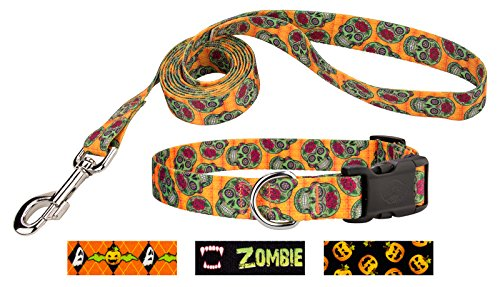 Country Brook Design Sugar Skulls Deluxe Dog Collar   Leash   Large