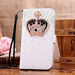 WQQ Diamond Crown PU Leather Full Body Case with Stand and Card Slot for iPhone 5/5S