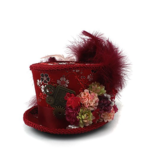 Tea Party Hat Mini Top Hat Antique Red and Ivory Tea Cup hat Mad Hatter Hat Tea Hat (Color : Red, Size : 25-30cm) ()