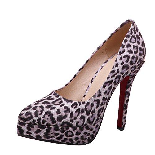 MissSaSa Donna Scarpe col Tacco di Leopardo (37, Rosa)