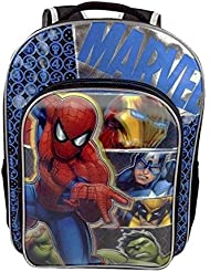 Marvel Avengers Age of Ultron Backpack 16 Full-Size with Spiderman, Iron Man, Captain America, Wolverine & Hulk
