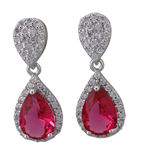 fonk: Latest Design Dangle earrings silver pink Topaz Ruby Earrings for female 82