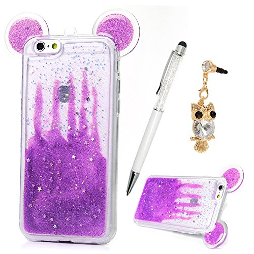 size 40 8a915 aa2a5 iPhone 6S Plus Case, iPhone 6 Plus Case 5.5 inch, YOKIRIN Luxury 3D Glitter  Cute Ears Transparent Plastic Bling Sparkle Stars & Love Heart Flexiable ...