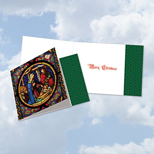 CQ6127BXSG-B12x1 Box Set of 12 'A Star Is Born' Christmas Card Featuring Glorious Images of the Nativity Recorded on Stained Glass, with - Stained Glass Card