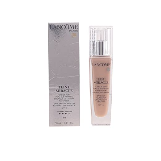 Lancome Teint Miracle Bare Skin Foundation SPF 15 Natural Light Creator, No. 02 Lys Rose, 1 Ounce