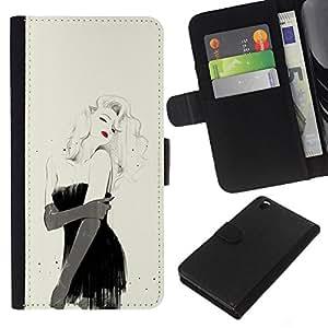 KingStore / Leather Etui en cuir / HTC DESIRE 816 / Labios Sexy chica de moda vestido de Negro;