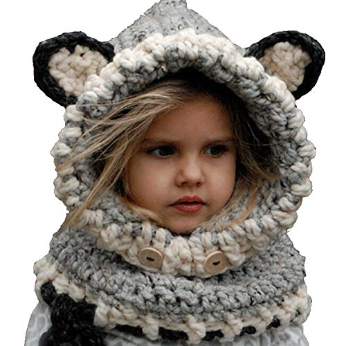 VAQM Kids Hat Girls Boys Winter Hats Warm Earflap Hood Scarves Animal Hat Scarf Beanie Scarf Knitted Cap (Kids Hats Grey 2 for 2-8 Years)