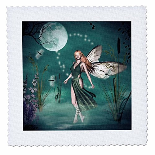 3dRose qs_25964_1 Fairy Mist with Moon and Dragonflies-Quilt Square, 10 by 10-Inch (Moon Cotton Quilt Fabric)