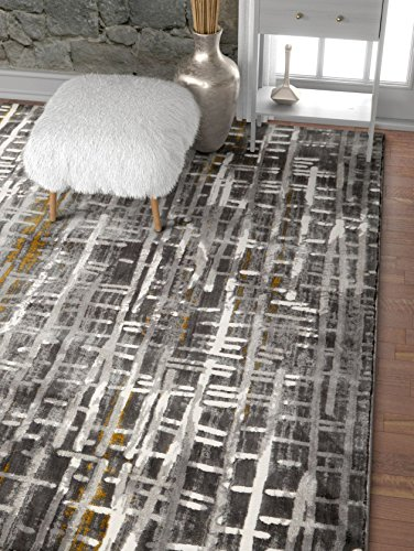 Well Woven Modern Geometric Borough Yellow High-Low Pile Area Rug 5x7 (x) Abstract Washed Out Boxes Carpet, 5'3
