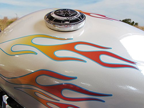 (No. 28 - White Hot Fire Glacier Pinstripe -28pc - Old School Flame decals for Motorcycle tank, fenders, helmet)