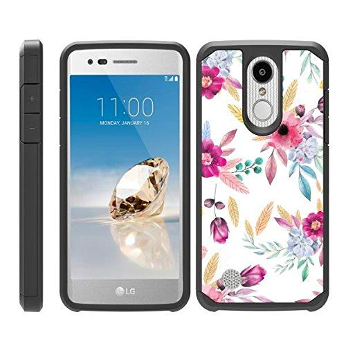 TurtleArmor | Compatible for LG Aristo 3 Case | Zone 4 | Tribute Empire | Risio 3 | Slim Fitted Dual Layer Hard Armor Hybrid Shell Case - Flower 5