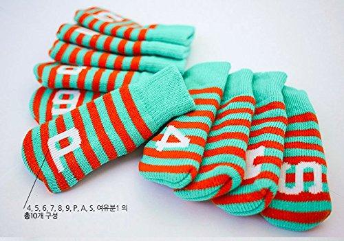 ゴルフアイアンヘッドカバーセット(10個) B07DFWXT79 Green+Orange