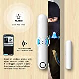Safamily WiFi Door Window Sensor Alarm by APP Built-in Rechargeable Battery 40-50 dB Warning Tone Triggered for Home Security Alarm Monitor Your Door or Window Open or Closed
