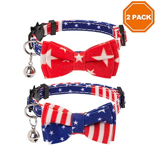PAWCHIE American Flag Cat Collars Breakaway, 2 Pack Bow Tie Collar for Cats with Bell, Adjustable