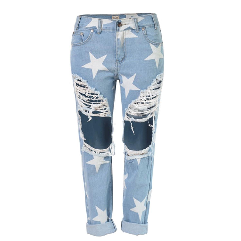 Echoine Women's Distressed Boyfriend Hole Jeans Ripped Washed Star Denim Trousers
