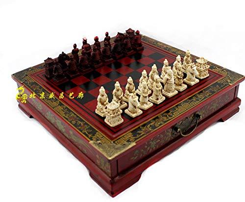 CTDMMJ Guerreros de Terracota clásicos Tablero de ajedrez de Madera Rompecabezas Personajes de Dibujos Animados Juego de…
